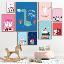 Cartoon Dinosaur Rabbit Bear Zebra Nursery Wall Art Canvas Painting Nordic Posters And Prints Pictures For Kids Room Decor