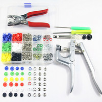 60sets T5 Plastic Resin Fasteners Press Stud Snap Button+90sets 9.5mm Prong Snap Buttons for Clothing+Machine Sewing Plier Tool