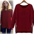 L~4XL Clearance Plus Size 2016 Autumn Winter Ladies Fashion Loose Pullover Zipper Women Female Large Big Wool Thick Knit Sweater