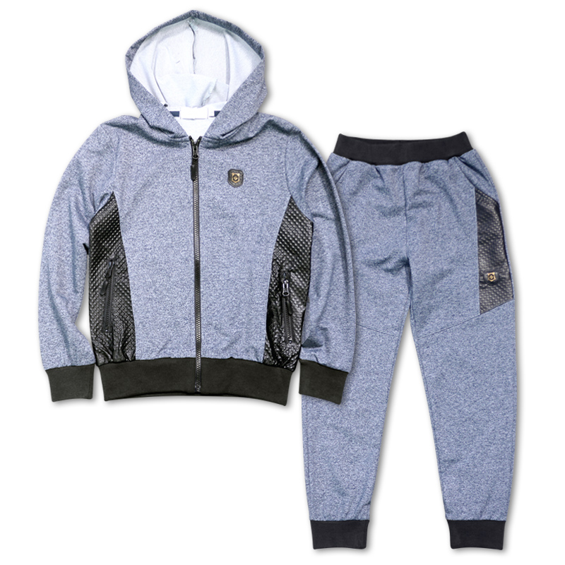 Kids Clothes Boys  Autumn  Winter Hooded Coats & Sports Pants Set Children Clothing Sports Suit KTJX-QJ7470