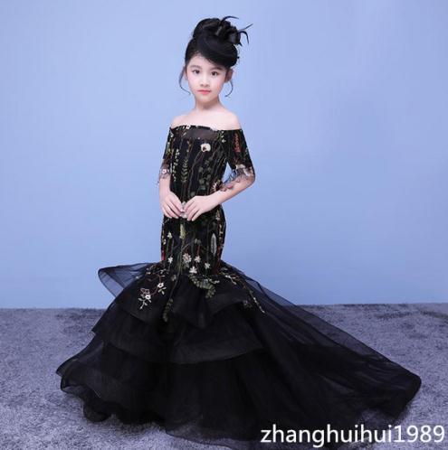 Elegant Custom Mermaid Flower Girl Dress Sweep Train Princess Birthday Ball Gown вечернее платье mermaid dress vestido noiva 2015 w006 elie saab evening dress
