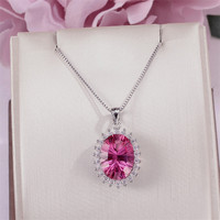 Fine Jewelry 925 Silver Pendants For Women Pink Topaz Natural 14*10mm Gemstone Necklace Luxury Elegant Pendant CCN007