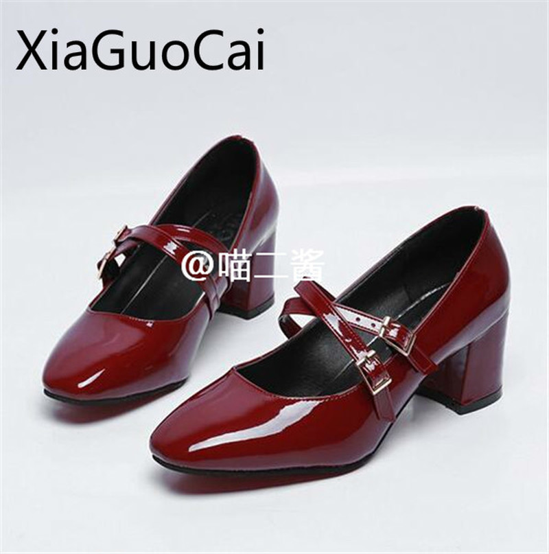 Cute Brand Women Retro Mary Jane Shoes Square Heels Female Casual Pumps Shallow Lolita High Heels Buckle Patent Leather Pumps