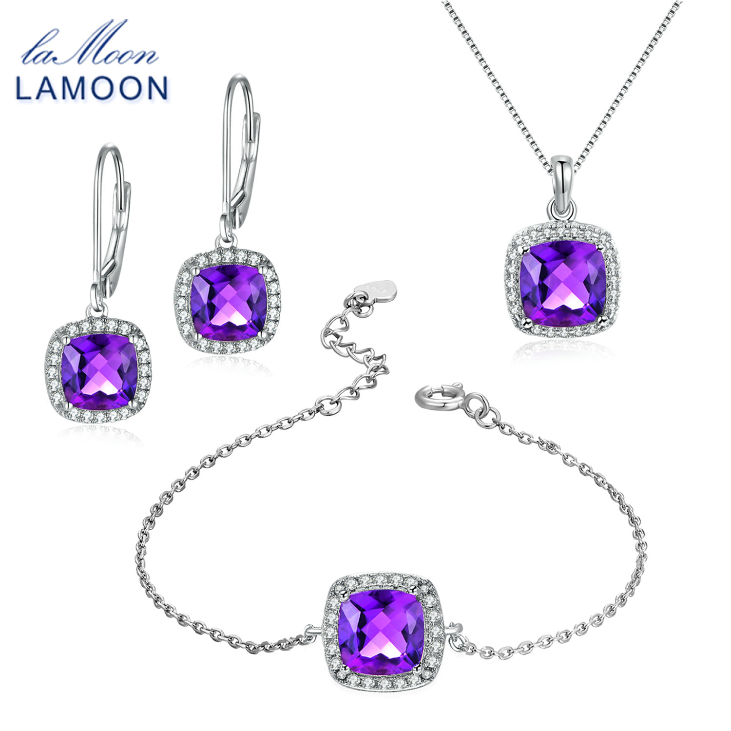 LAMOON 100% Natural Purple Amethyst 925 Sterling Silver Fine Jewelry Set For Women Earring Necklace Bracelet for Party V001-4LAMOON 100% Natural Purple Amethyst 925 Sterling Silver Fine Jewelry Set For Women Earring Necklace Bracelet for Party V001-4