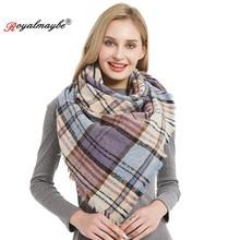 Royalmaybe cashmere scarf women triangle scarves winter warm Designer for lady shawls and wraps autumn plaid fashion pashmina(China)