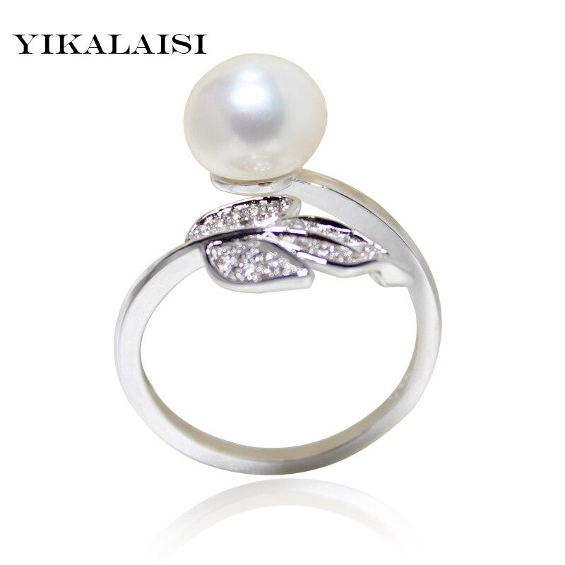 YIKALAISI 2017 jemná značka 100% přírodní sladkovodní perlový prsten 925 mincovní stříbro šperky pro ženy