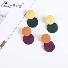 Crazy Feng Fashion Acrylic Drop Earrings For Women Vintage Kpop Round Beads Dangles Earrings Femme Earring Accessories Bijoux