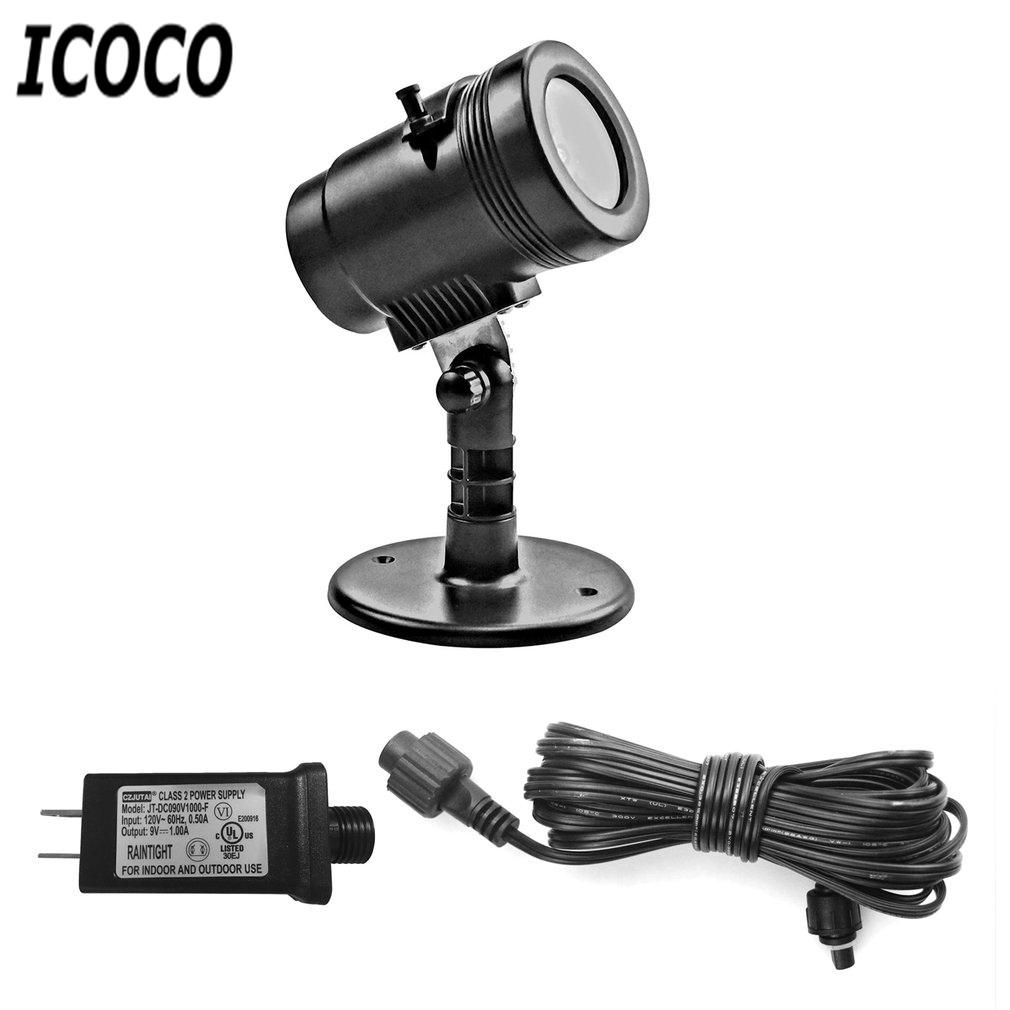 ICOCO 1pc LED Film Projector Light Lawn Decorative Wall Mood Night Lamp for Indoor Outdoor Christmas Party Home Garden Landscape
