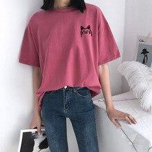 Cute Pure Cotton Print T Shirt Women Cartoon Korean Clothes 2019 Summer Aesthetic T-shirt Tops Streetwear Casual Tee Femme