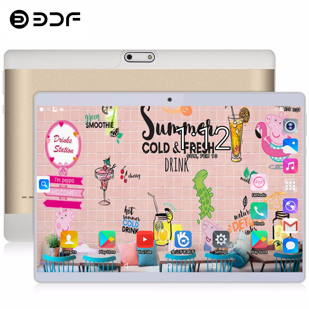 BDF Android 4G LTE 10 Inch Tablet Screen Mutlti Touch Android 8.1 Octa Core RAM 4GB ROM 64GB Camera 5.0MP WiFi Phone Tablets Pc