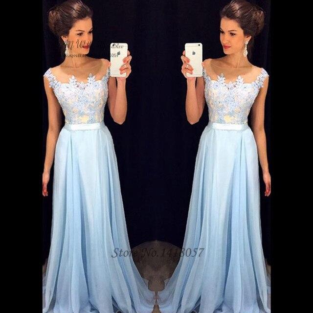 0c83f949c Vestidos de Festa Vestido Longo Para Casamento Barato Céu Azul Prom Vestidos  de Formatura Longo Rendas