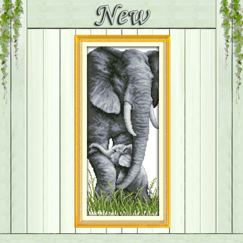 Elephant mother and son baby animal Counted Printed on the canvas DMC 14CT 11CT Cross Stitch DIY Needlework Kits Embroidery Sets