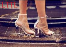 Summer Hot PVC Women Peep Toe Ankle Boots New Fashion Transparent Chunky Heel Ladies Sexy Rain Boots Free Style Short Boots