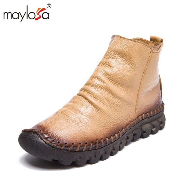 MAYLOSA  women winter Genuine Leather Boots warm Vintage Style Flat Booties Soft Cowhide woman  Ankle Boots zapatos mujer