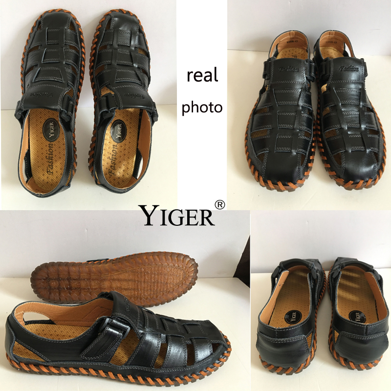YIGER NEW Men's Genuine Leather Sandals Casual beach shoes Oxford - Men's Shoes - Photo 5