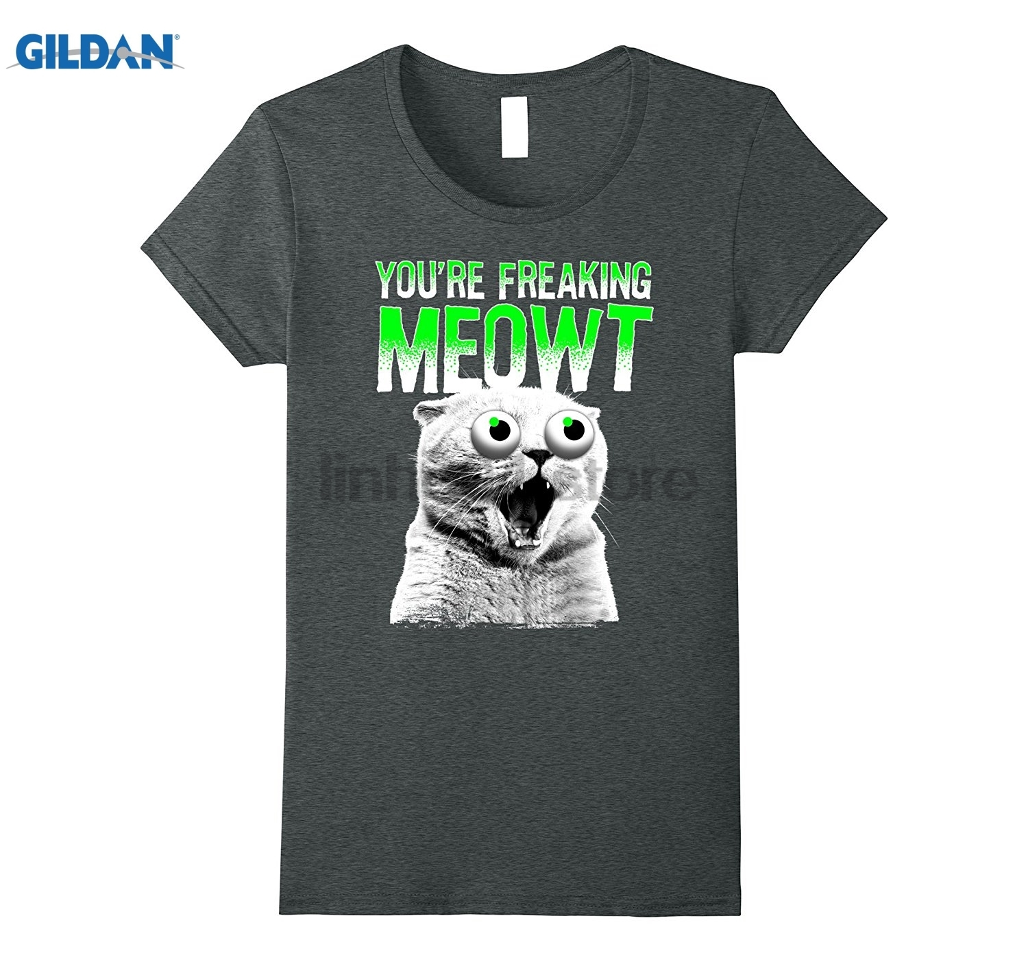 GILDAN Youre Freaking Meowt Crazy Kitty Eye Bulge Graphic T-Shirt Hot Womens T-shirt ...