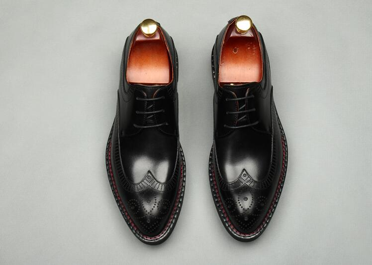 Carved brogue shoes men lace up genuine leather chunky heel platform height increasing smart casual shoes pointed toes broguesCarved brogue shoes men lace up genuine leather chunky heel platform height increasing smart casual shoes pointed toes brogues