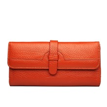 England style  Women Genuine leather Buckle Closure long  Purse Coin wallets  Clutch Hand Bag Coffee Orange Burgundy 3 colour