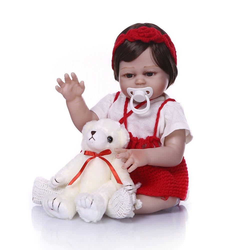 Nicery 19 дюймов 48 см кукла новорожденного ребенка Жесткий Силиконовый мальчик девочка игрушка Reborn Baby Doll подарок для детей белый медведь красны