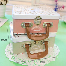 Beautiful Storage Box Mini Luggage Home/Office/School Metal Handle Tin Box Jewelry Candy Stationery Holder Multifunction Organizer