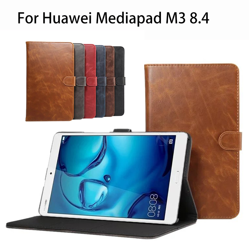 PU Leather Case Cover For Huawei MediaPad M3 BTV-W09 BTV-DL09 8.4 inch Tablet Business Crazy Horse pattern Smart Funda Flip Case silicon pu leather case for huawei mediapad m3 btv w09 btv dl09 8 4 inch smart sleep case cover tablet flip shell funda capa