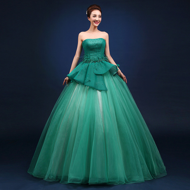 3163abd1999 2015 plus size 13 15 16 birthday luxury simple sweet long ball gown  quinceanera dresses green ball gown custom made elegant
