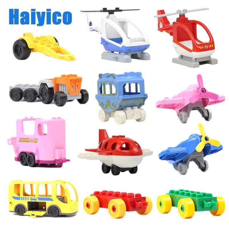 Acessórios Carro grande blocos de construção de tráfego compatível Duplos Veículo reboque de aeronaves ônibus Tijolos Helicóptero Brinquedos criança presente do menino