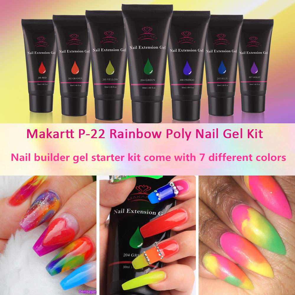 Makartt P 22 Poly Nail Extension Gel Kit Rainbow Color Nail Builder Gel Nail Thickening Solution Nail Equipment in Sets Kits from Beauty Health