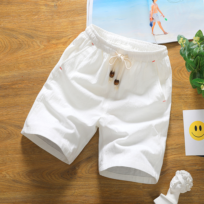 Summer Lovers Solid Casual Shorts Male Linen Knee Length Cotton Board Shorts Men Drawstring Thin Breathable Male Bermuda White