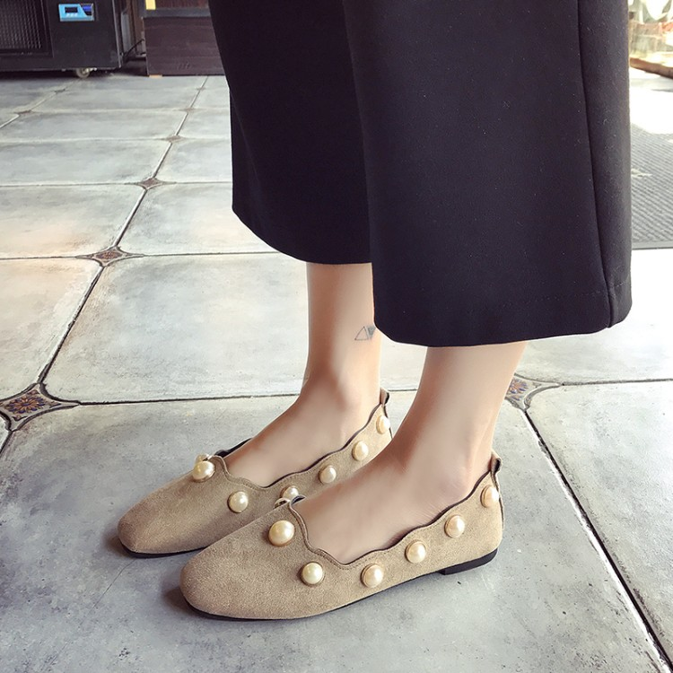 купить  Square Toe Velvet Shoes Spring Summer Flats Pearl Women Casual Daily Loafers Comfort Flat Heel  онлайн