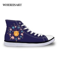WHEREISART Trendy Animals Forest Fox Printed Vulcanized Shoes for Ladies Casual Women High Top Canvas Shoes Female Lace up Flats