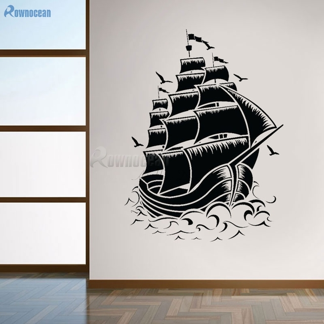Rownocean Nautical Home Decor Vintage Sailboat Sea Seagulls Wall Stickers Vinyl Muurstickers House Decoration Living Room