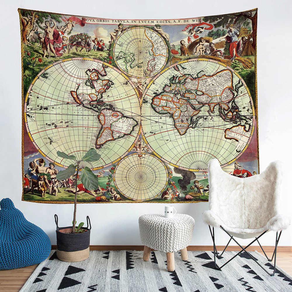 Vivo tierra mapa, mapa imprimir mapa tapiz colgante de pared playa toalla Picnic Mat casa Decoración Retro suave cojín hoja grande Yogo Mat mantel