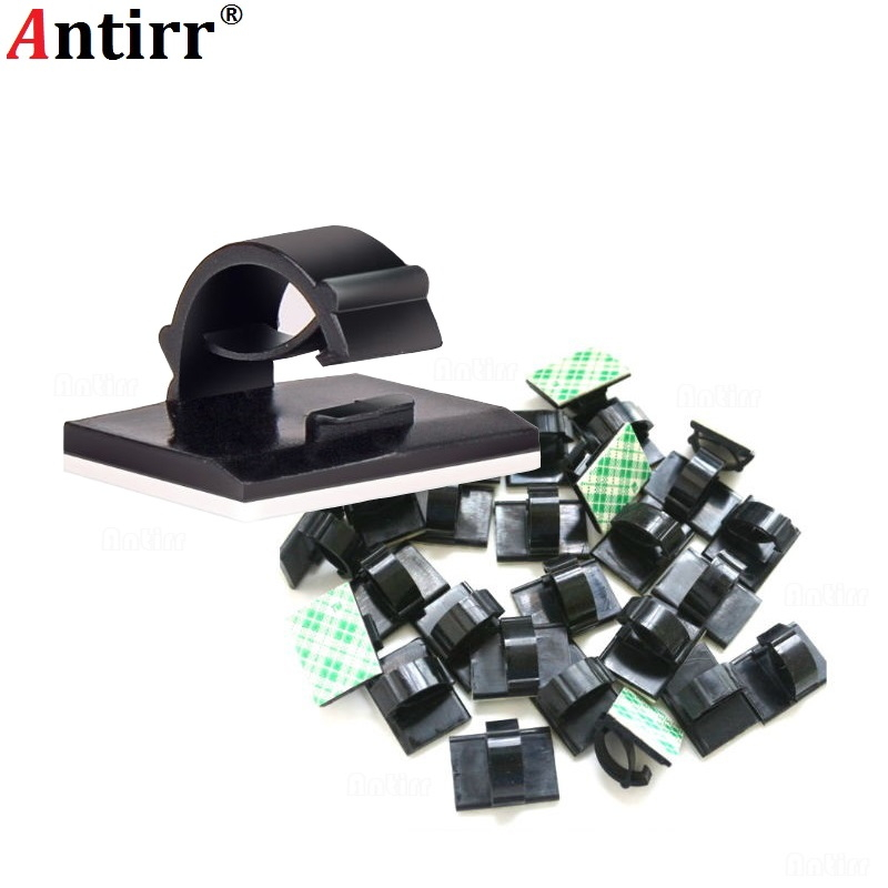 50pcs Adhesive Car Cable Clips Cable Winder Organizer Wire Management Drop Cord Clamp Tie Fixer Holder Desk Wall Home