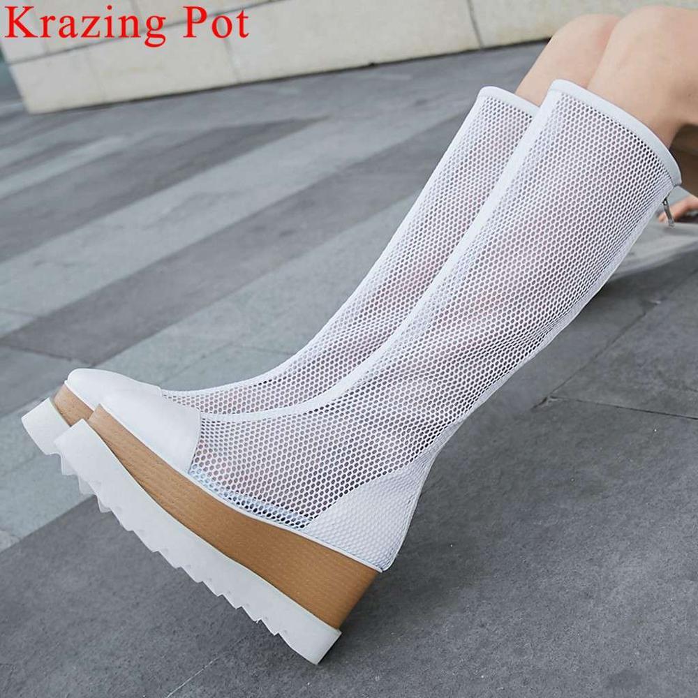 Krazing หม้อขนาดใหญ่ breathable air mesh wedges รองเท้าส้นสูงรองเท้าฤดูร้อนสแควร์ toe cow หนังหล่อต้นขาสูงรองเท้า l88-ใน รองเท้าบู๊ทสูงระดับเข่า จาก รองเท้า บน   1