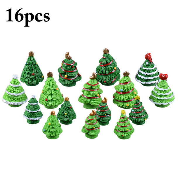 16pcs mini christmas trees fashionable tabletop ornament xmas desk decorations for home decor