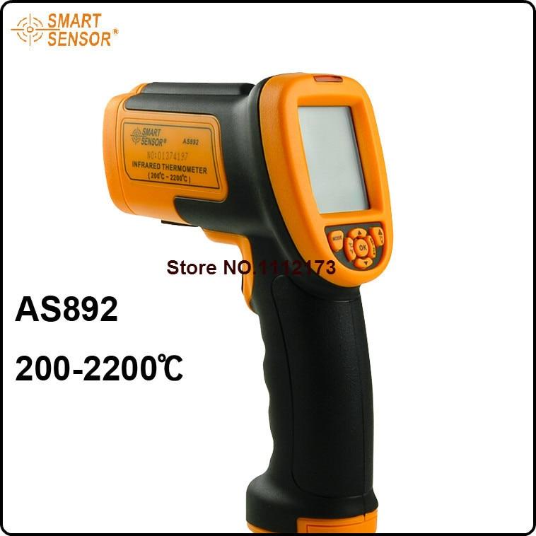 As892 высокая температура Бесконтактный лазерный ИК инфракрасный термометр измерением температуры Точка Gun 200 2200c Бесплатная доставка
