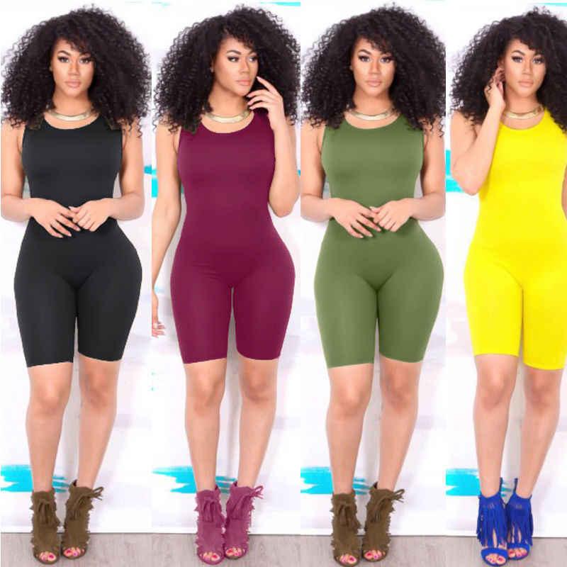 Mujeres Casual sin mangas Bodycon Romper mono Club Bodysuit pantalones cortos verano Color sólido chaleco 1 piezas Casual Sexy traje nuevo