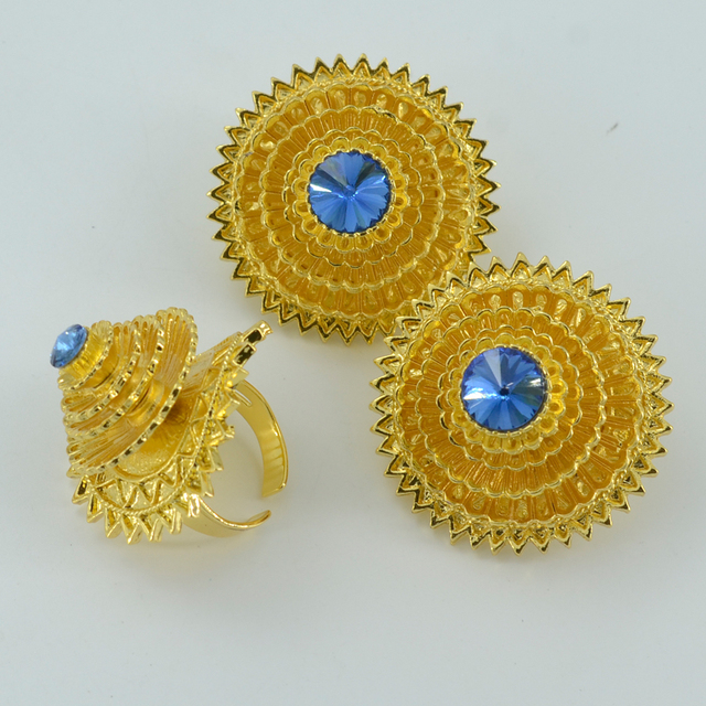 Ethiopian Gold Jewelry sets W/Blue Stone,Gold Plated Habesha Wedding Eritrea Pendant Rope/Bangle/Earrings/Ring Africa #000817