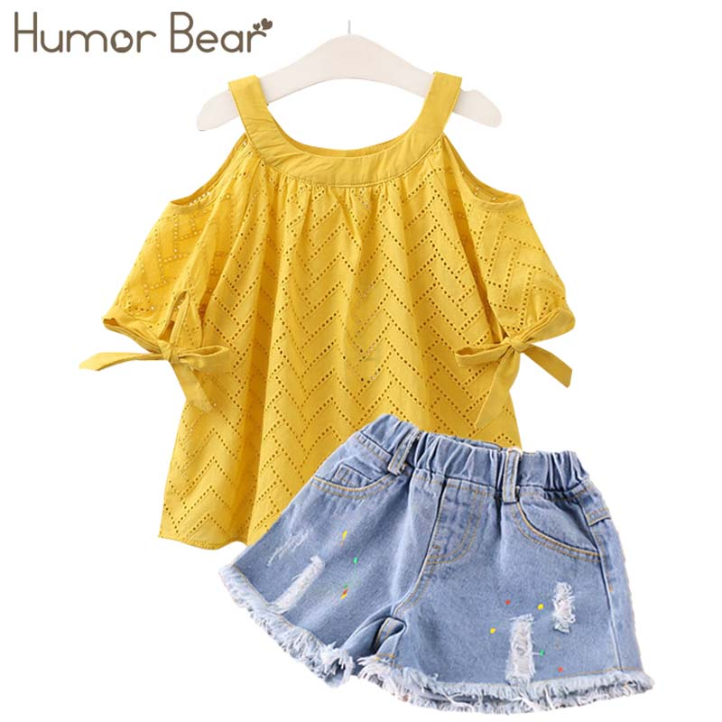 Humor Bear Girls Clothing Sets Kids Clothes Baby Girl Clothes 2018 Summer Baby Bay clothes Hollow out Tops+ Pant 2-6Y humor bear baby clothes girl clothes 2018 brand girls clothing sets kids clothes children clothing toddler girl tops pant 2 6y