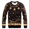 2015 Autumn winter Hoodies New Versa Hip hop men women's stars gold chain 3d print pullovers Galaxy Sweatshirts moletom