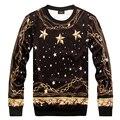 2015 Outono inverno Hoodies New Versa Hip hop estrelas corrente de ouro das mulheres dos homens de impressão 3d Camisolas pullovers Galáxia moletom