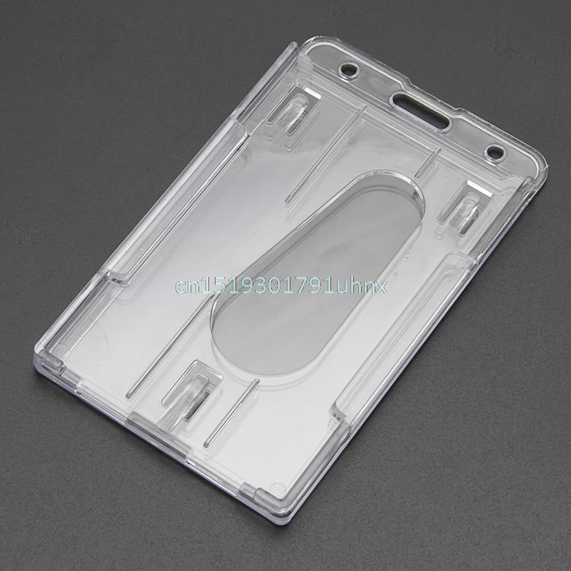 5PCS Clear ID Badge Holder Card Holder Protector Employee Waterproof Grey