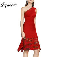 Bqueen 2017 New Arrival Slash Neck Knee Length Hollow Out Lady Dress Sexy One Shoulder Backless