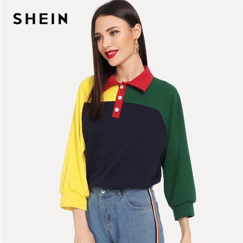 SHEIN Multicolor Wochenende Casual Zuschneiden und Nähen Halbe Knopfleiste Farbe Block Sweatshirt 3/4 Hülse Pullover Frauen Herbst Sweatshirts