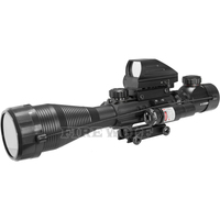 FIRE WOLF 4-12x50 Illuminated Rangefinder Reticle Rifle Scope Holographic 4 Reticle Sight 11mm 20mm Red Laser Combo Riflescope 4