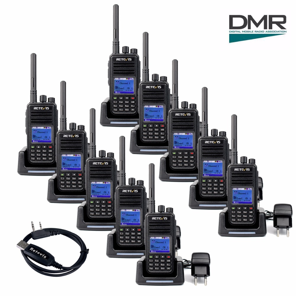 10pcs Retevis RT3 DMR Digital Walkie Talkies (GPS) UHF (or VHF) 5W 1000CH Encryption VOX Handheld Two Way Radio Hf Transceiver