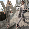 2016 New jumpsuits for women summer slim wide leg pants halter neck bohemian beachwear long casual woman rompers overalls S,M,L