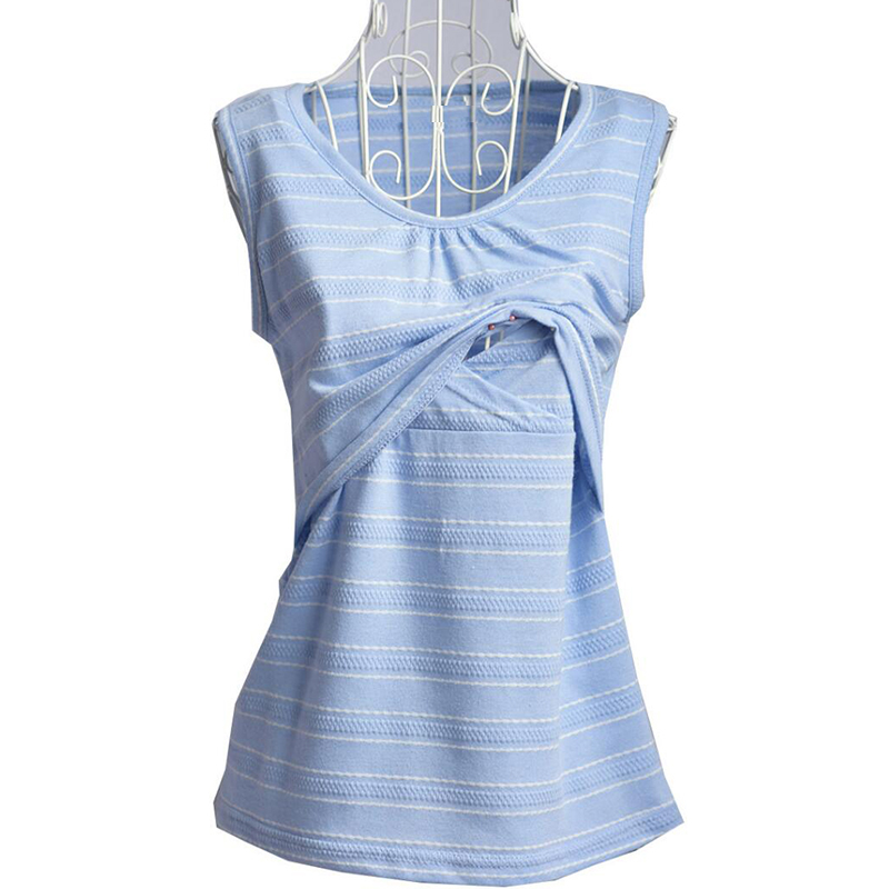 Casual pregnancy shirts breastfeeding nursing top striped cami tank maternity clothes for pregnant women soft cotton shirts ...