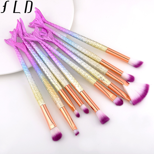 FLD Professional Mermaid Makeup Brushes Set Eye Set Kits Shadow Eyeliner High Quality Makeup Brush Tools Eyebrow Tools Kit 2